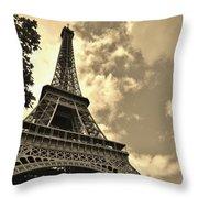 Sepia Eiffel Throw Pillow
