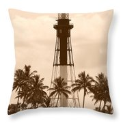 Sepia Light House  Throw Pillow