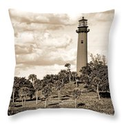 Sepia Lighthouse Throw Pillow