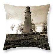 Sepia Marblehead Lighthouse Throw Pillow
