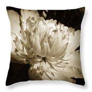 Sepia Peony Flower Art Throw Pillow