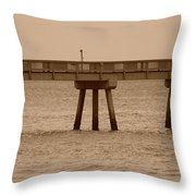 Sepia Pier Throw Pillow