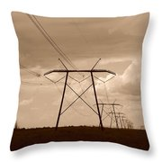 Sepia Power Throw Pillow