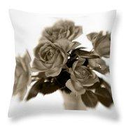 Sepia Roses Throw Pillow