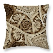 Sepia Swirls Fractal Art Throw Pillow