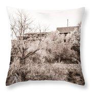 Sepia-toned Blooming Almond Trees Of Fikardou Village 1 Throw Pillow