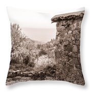 Sepia-toned Fikardou Village Scene 1 Throw Pillow