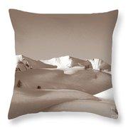 Sepia Toned Snowy Mountain Throw Pillow
