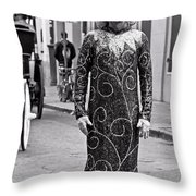 Sequined Mime In Black And White Throw Pillow