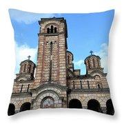 Serbian Orthodox Church Of Saint Mark Belgrade Serbia Throw Pillow