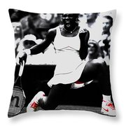 Serena Williams Victory Throw Pillow by Brian Reaves