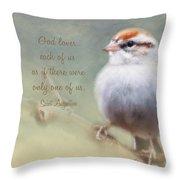 Serendipitous Sparrow - Quote Throw Pillow
