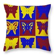 Serendipity Butterflies Brickgoldblue 1 Throw Pillow