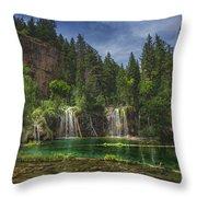 Serene Hanging Lake Waterfalls Throw Pillow