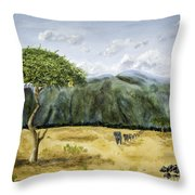 Serengeti Painting Throw Pillow