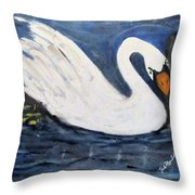 Serenity Swan Throw Pillow