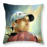 Sergio Garcia In The Castello Masters Throw Pillow