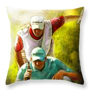 Sergio Garcia In The Madrid Masters Throw Pillow