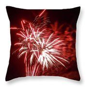 Series Of Red And White Fireworks Throw Pillow