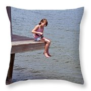 Serious Fishergirl On The Indian River In Florida Throw Pillow