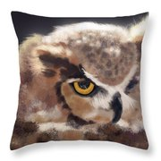 Serious Horned Owl Throw Pillow