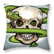 Serpent N Skull Throw Pillow