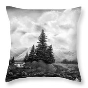 Serpentine Creek In Black And White Throw Pillow