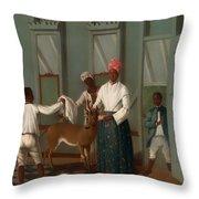 Servants Washing A Deer Throw Pillow
