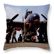 Servicing An A-20 Bomber Langley Field Va Throw Pillow