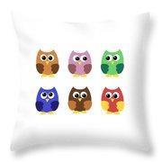 Set Of Six Little Owlets Throw Pillow