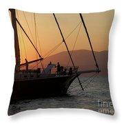 Set Sail On The Aegean At Sunset Throw Pillow