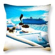 Set Sail Santorini Throw Pillow