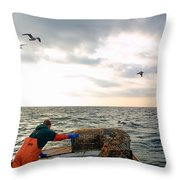 Setting Lobster Traps In Chatham On Cape Cod Throw Pillow
