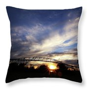 Setting Sun And Cloudy Skies Throw Pillow