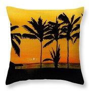 Setting Sun In The Tropics Throw Pillow