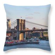 Setting Sun On Brooklyn Bridge Throw Pillow