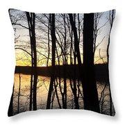 Setting Sun On Monroe Lake Bloomington Indiana Throw Pillow