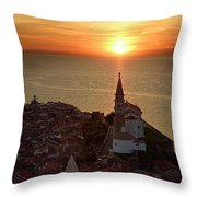 Setting Sun On The Adriatic Sea Behind Archangel Michael On Top  Throw Pillow