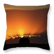 Setting Sun Peaking Out From Storm Clouds In Saskatchewan Throw Pillow