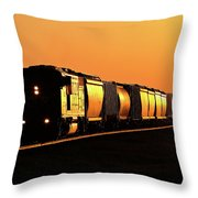Setting Sun Reflecting Off Train And Track Throw Pillow