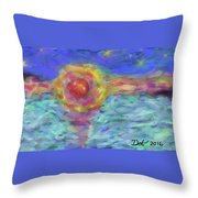 Setting Sun, Stars And Water Throw Pillow