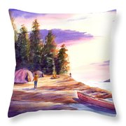 Settling Into Camp Throw Pillow