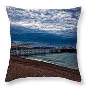 Seven Am On Brighton Seafront Throw Pillow
