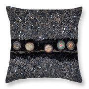 Seven Bottle Caps Throw Pillow