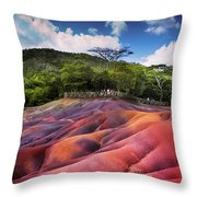 Seven Colored Earth In Chamarel. Mauritius Throw Pillow
