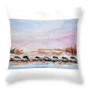 Seven Little Boats Throw Pillow