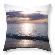 Seven Mile Beach Catamaran Sunset Grand Cayman Island Caribbean Throw Pillow by Shawn O'Brien
