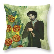 Seven Of Pentacles Illustrated Throw Pillow