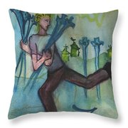 Seven Of Swords Illustrated Throw Pillow