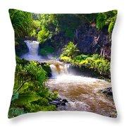 Seven Sacred Pools Maui Throw Pillow
